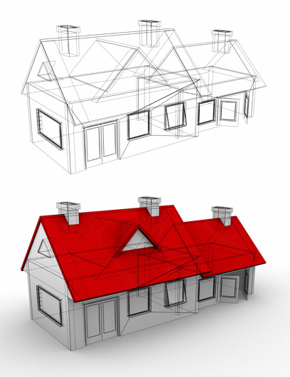 3d model home rendering and sketch